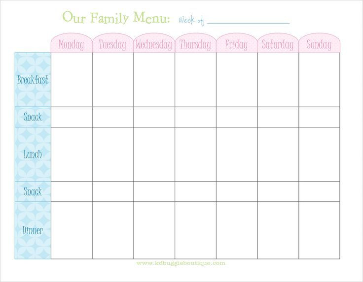 Meal Plan Template Free Weekly Menu Planner with Snacks