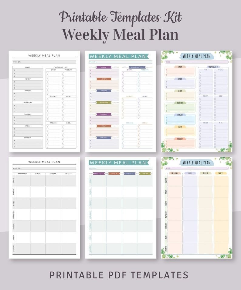 Meal Plan Template Pdf Meal Planner Templates Pack 30 In 1 Bundle Monthly Meal
