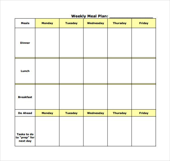 Meal Plan Template Pdf Weekly Meal Planning Template Pdf