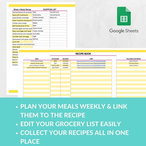 Meal Planning Template Google Docs Meal Planner Template Spreadsheet Grocery Planning Excel