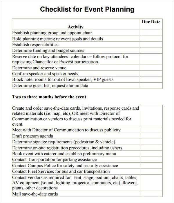 Meeting Planner Checklist Template event Planning Checklist Template