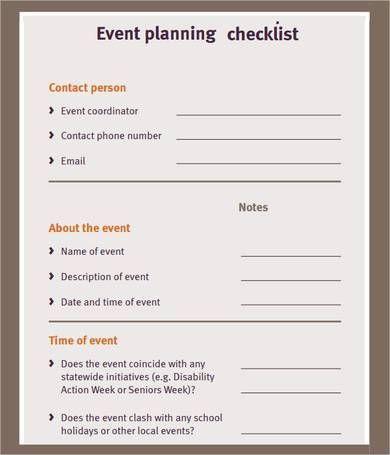 Meeting Planner Checklist Template Free event Planning Checklist