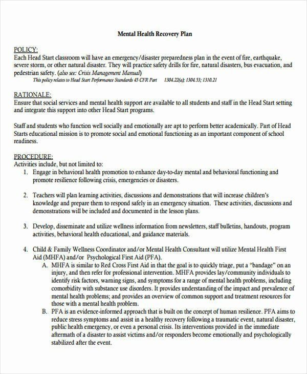 Mental Health Crisis Plan Template Pin On Simple Business Plan Templates