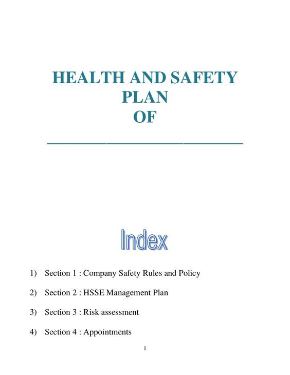 Mental Health Safety Plan Template Health and Safety Plan Generic