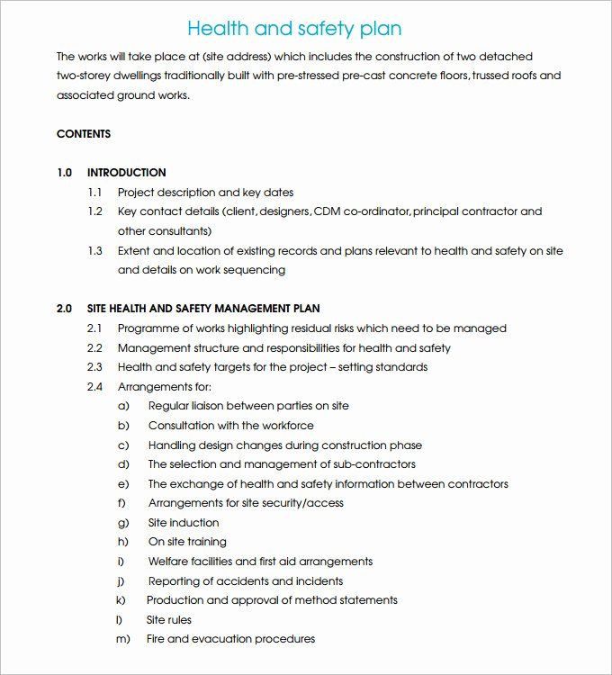 Mental Health Safety Plan Template Health and Safety Plan Template Awesome Construction Safety