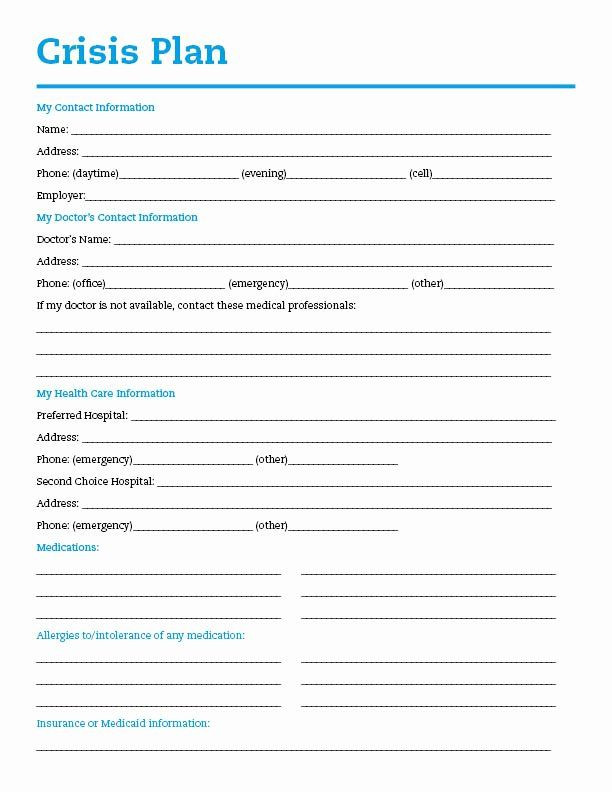 Mental Health Safety Plan Template Pin On Example Professional Project Plan Templates