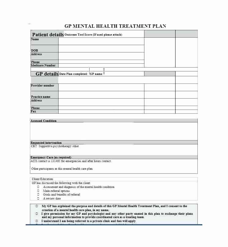 Mental Health Treatment Plan Template Pin On Business Plan Template for Startups