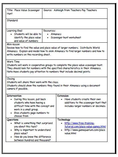Mini Lesson Plan Template Harriettjay toppin today