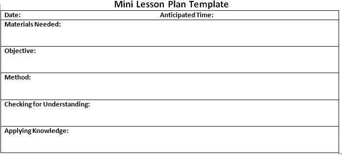 Mini Lesson Plan Template Mini Lesson Plan