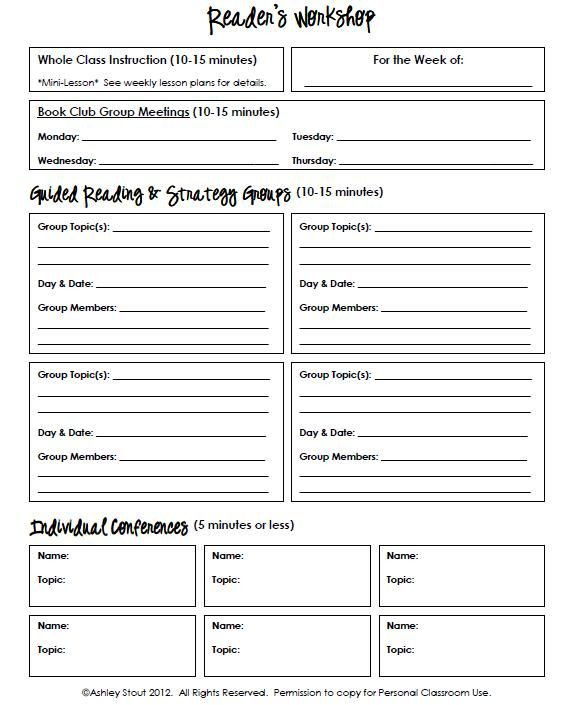 Mini Lesson Plan Template Strategy Grouping Template for Reading Writing & Math