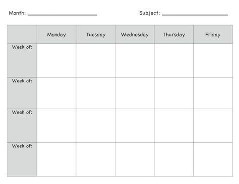 Monthly Lesson Plan Template Monthly Lesson Plan Template More
