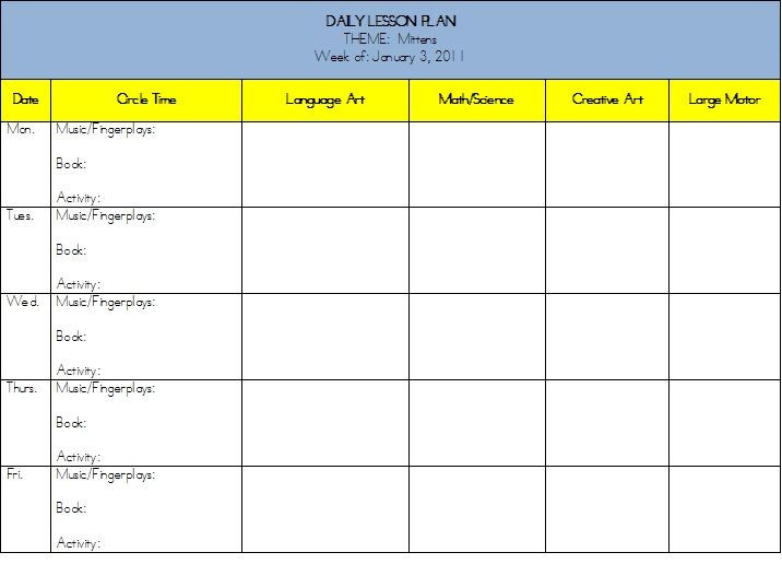 Monthly Lesson Plan Template Planning Marvelous Mitten Activities for Preschool