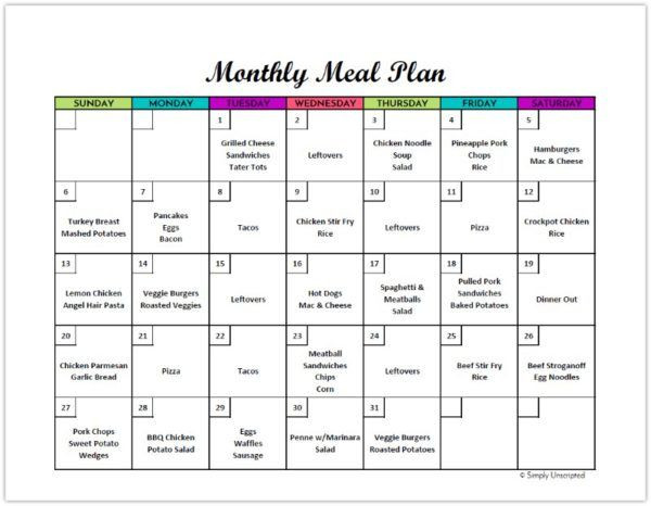 Monthly Meal Planner Template Free Monthly Meal Planner Printable Calendar Template for