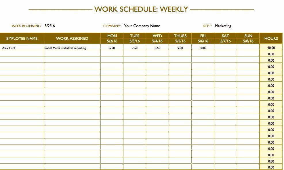 Monthly Work Plan Template Excel Employee Work Plan Template Elegant Free Work Schedule