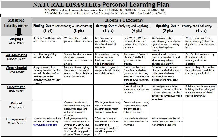 Multiple Intelligences Lesson Plan Template Natural Disasters Personal Learning Plan A Gardner S