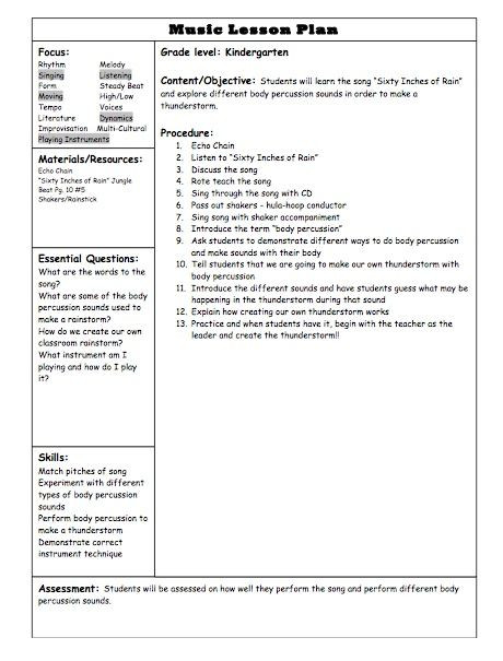 Music Education Lesson Plan Template Kindergarten Lesson Plan