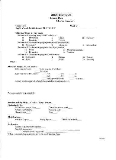 Music Education Lesson Plan Template Music Lesson Plan Template New Lesson Plan Template – Middle