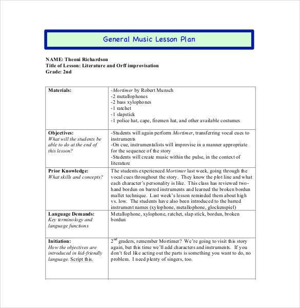 Music Lesson Plan Template Doc Music Lesson Plan Template 59 Lesson Plan Templates Pdf Doc