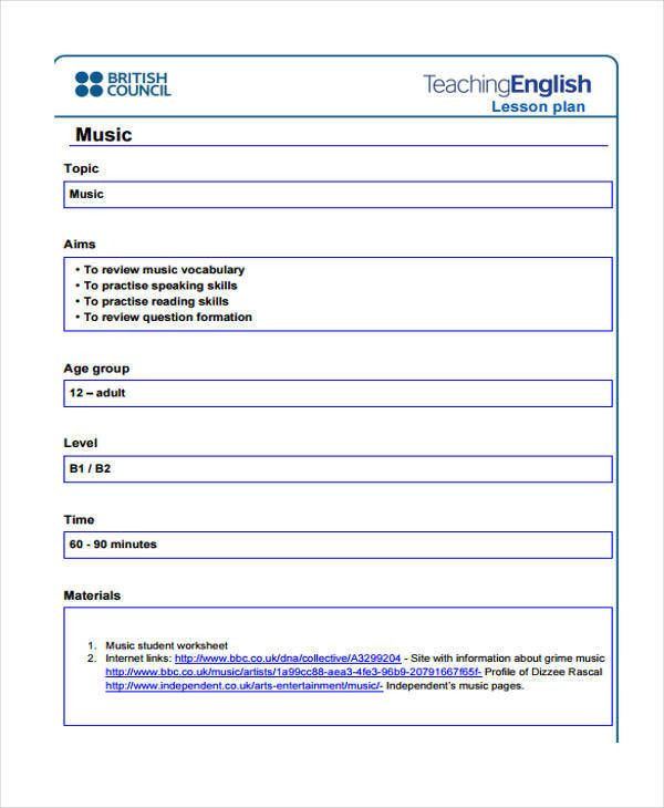 Music Lesson Plan Template Doc Music Lesson Plan Template Doc Unique 16 Lesson Plan Samples