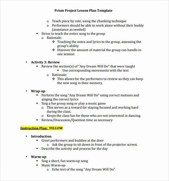 Music Lesson Plan Template Music Lesson Plan Template Elegant 9 Music Lesson Plan