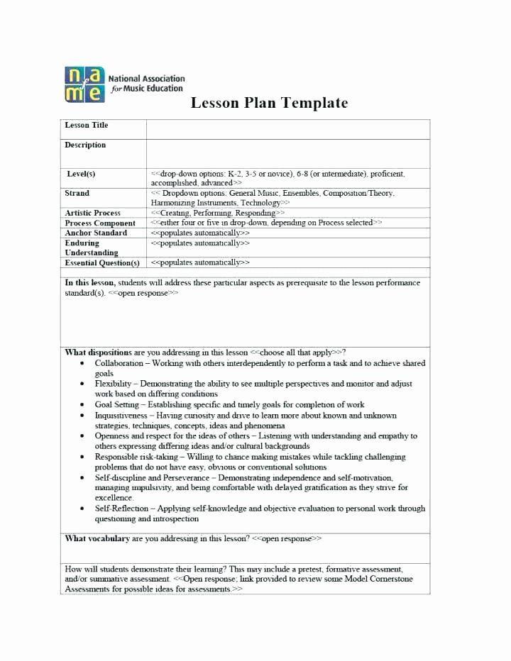 Music Lesson Plan Template Music Lesson Plan Template Fresh General Music Lesson Plan