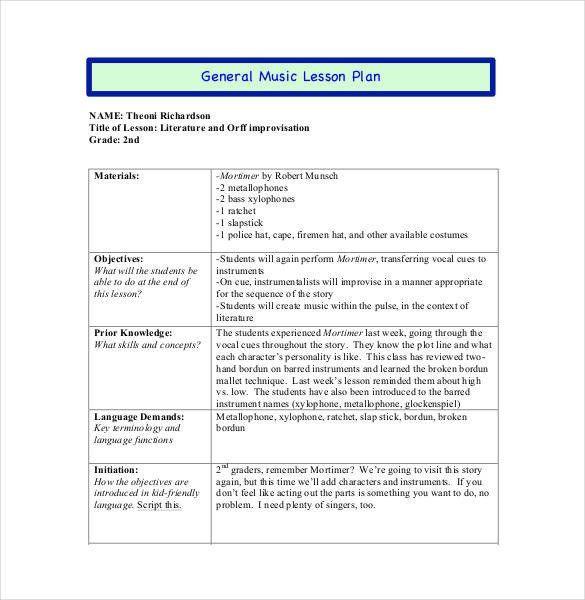 Music Lesson Plan Template Pdf Music Lesson Plan Template 59 Lesson Plan Templates Pdf Doc