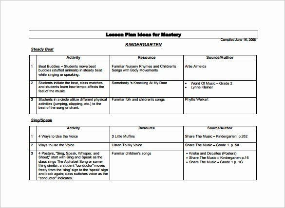 Music Lesson Plan Template Preschool Lesson Plan Template Free Elegant Kindergarten