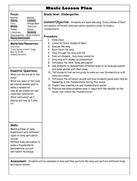 Music Teacher Lesson Plan Template Kindergarten Lesson Plan