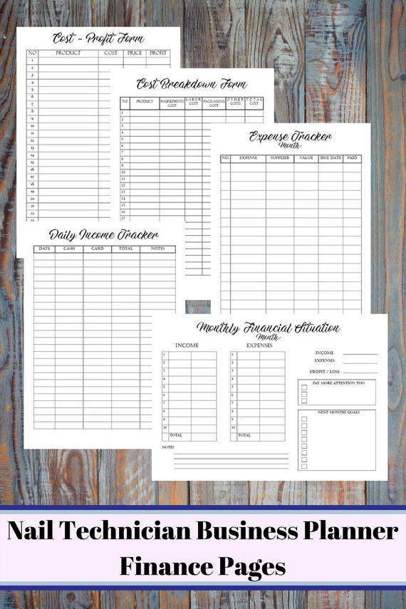 Nail Salon Business Plan Template Nail Technician Business Planner Printable Nail Artist