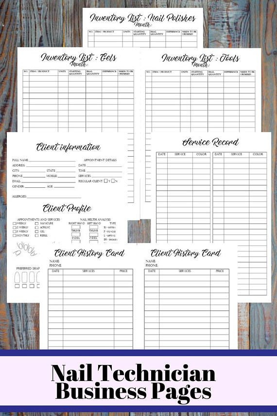 Nail Salon Business Plan Template Nail Technician Business Planner Printable Nail Artist