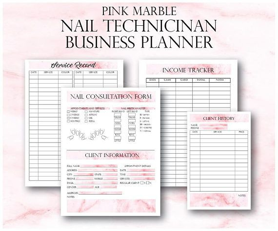 Nail Salon Business Plan Template Nail Technician forms Pink Nail Artist Client forms Nail