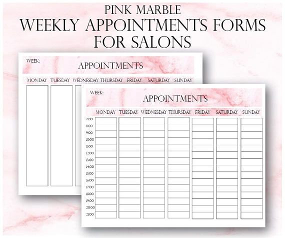 Nail Salon Business Plan Template Pink Marble Weekly Appointments Client Appointments Salon