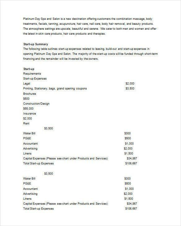 Nail Salon Business Plan Template Salon Business Plan Template Free Best 21 Spa & Salon
