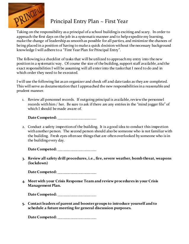 New Principal Entry Plan Template Principal Entry Plan