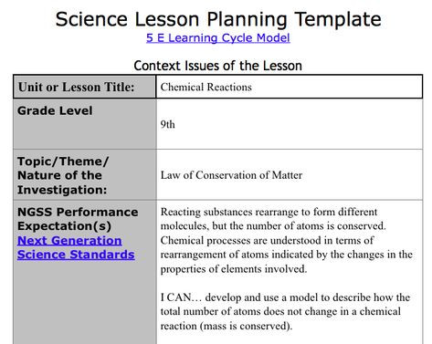 Ngss Lesson Plan Template Lesson Example 1