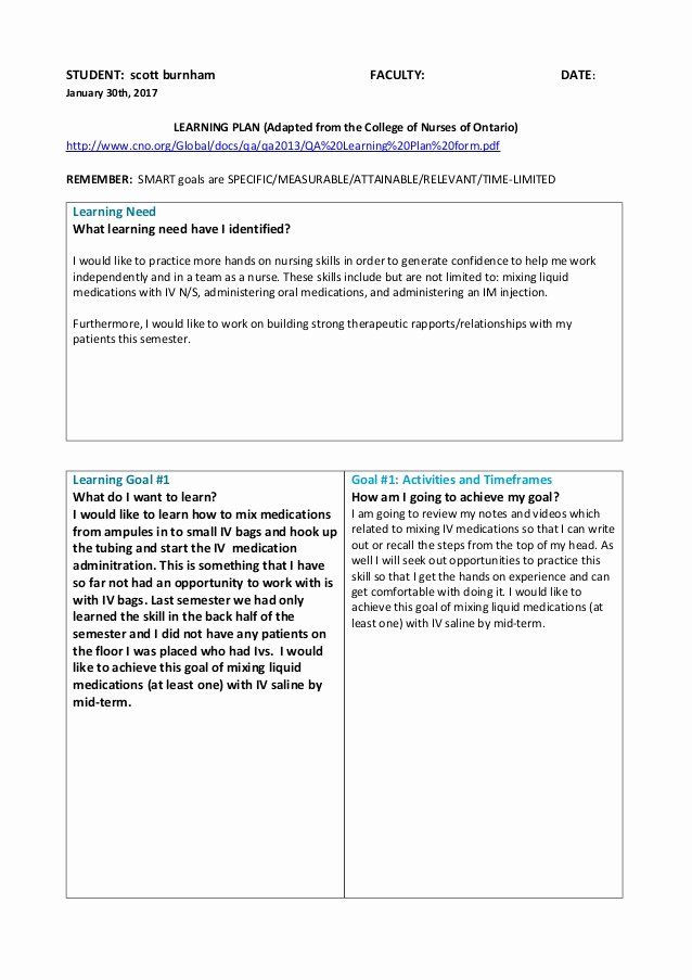 Nursing Teaching Plan Template Nursing Teaching Plan Sample Elegant Learning Plan with 5
