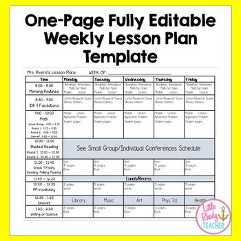 One Page Lesson Plan Template E Page Fully Editable Weekly Lesson Plan Template
