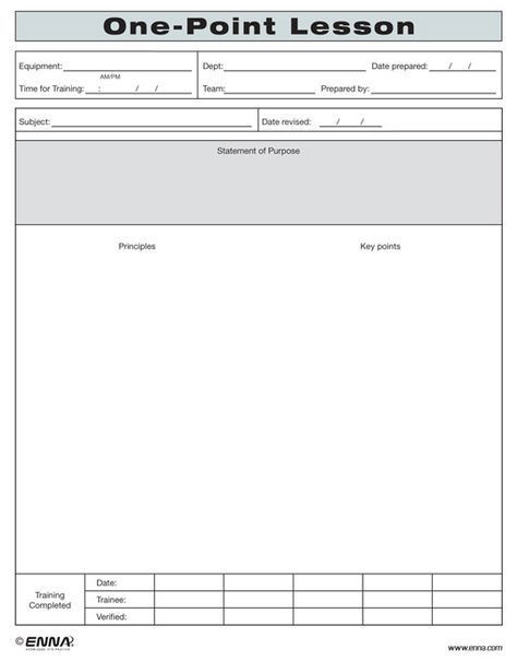 One Page Lesson Plan Template E Point Lesson form Enna