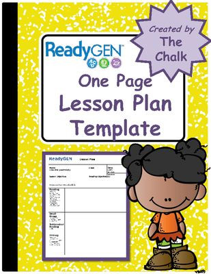 One Page Lesson Plan Template Readygen E Page Lesson Plan Template From the Chalk On