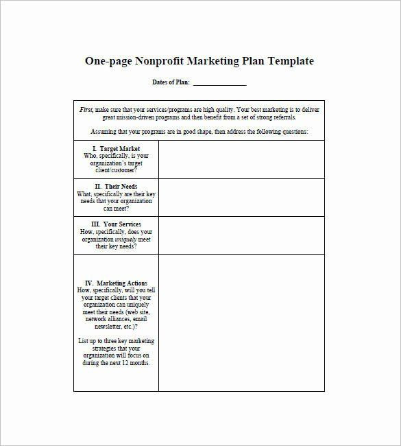 One Page Marketing Plan Template Music Marketing Plan Template New 11 E Page Writing Samples
