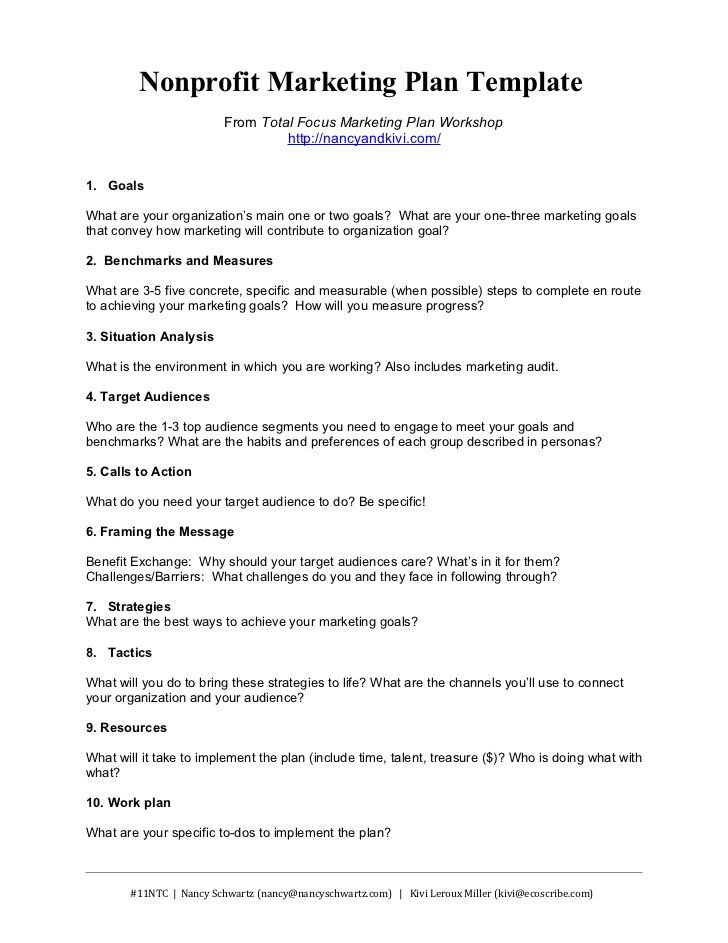 One Page Marketing Plan Template Nonprofit Marketing Plan Template From total Focus Marketing