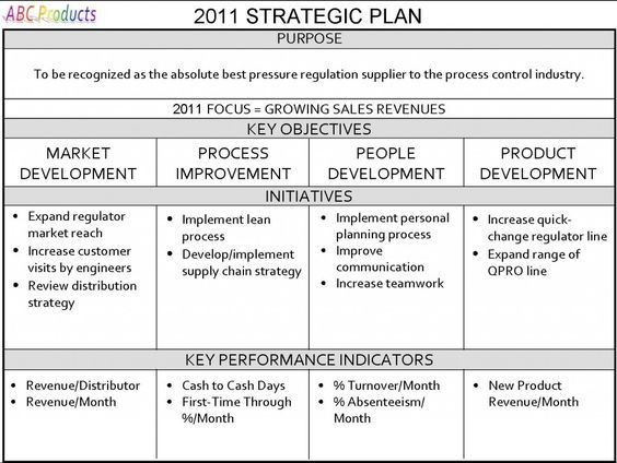 One Page Strategic Plan Template Database Error