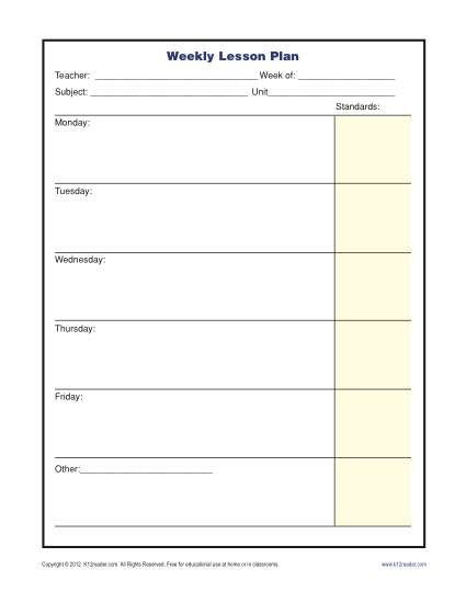 One Subject Lesson Plan Template Weekly Lesson Plan Template with Standards Elementary In