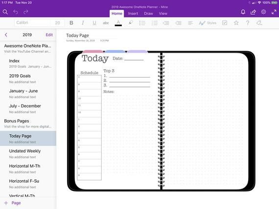 Onenote Lesson Plan Template 2019 Digital Awesome Planner for Microsoft Enote