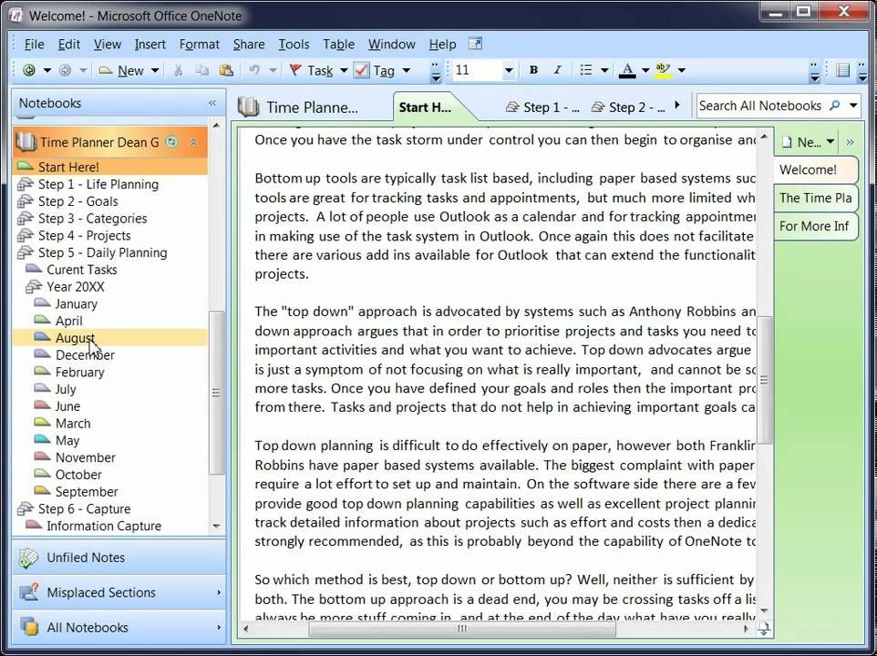 Onenote Lesson Plan Template Enote Time Planner Lesson 1 Installation and