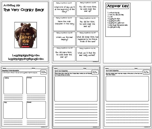 Otes Lesson Plan Template Free the Very Cranky Bear Activities
