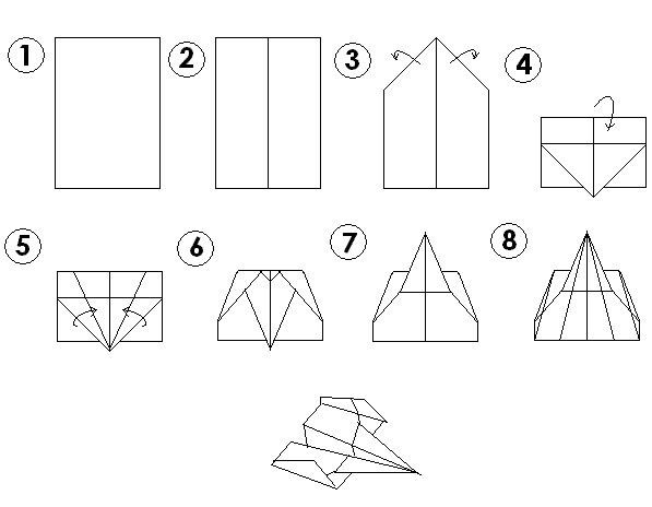 Paper Airplane Template Visual Paper Airplane Instructions