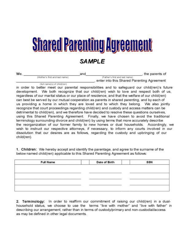 Parenting Plan Template Sample Custody Agreement
