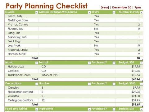 Party Plan Checklist Template Party Planning Checklist Party Planner Checklist