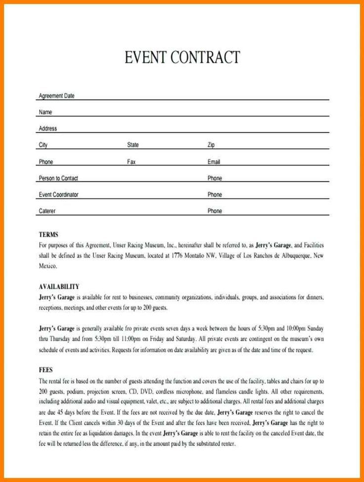 Party Planner Contract Template 011 Plan Template event Contract Sample
